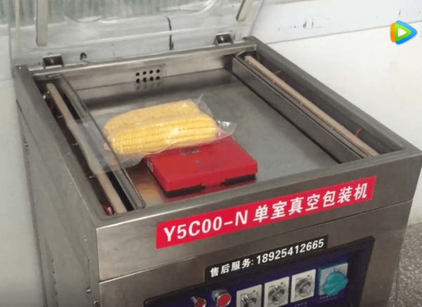 透明玉米棒真空袋使用Y5C00-N真空包装机抽真空视频